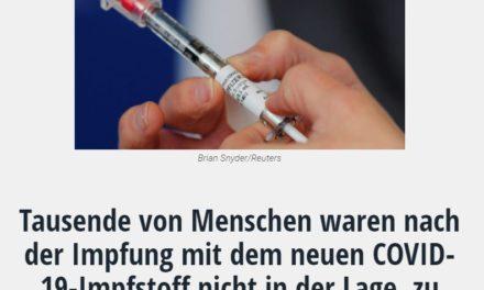 Tausende von Menschen waren nach der Impfung mit dem neuen COVID-19-Impfstoff nicht in der Lage, zu arbeiten