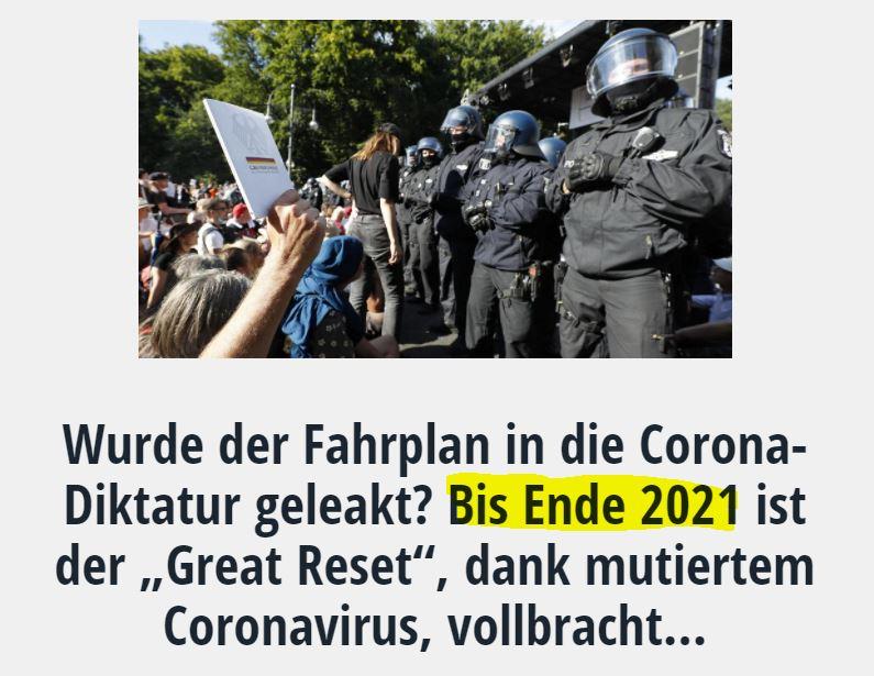 """Wurde der Fahrplan in die Corona-Diktatur geleakt? Bis Ende 2021 ist der """"Great Reset"""", dank mutiertem Coronavirus, vollbracht…"""