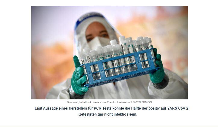 PCR-Testhersteller: Hälfte der positiv Getesteten ist möglicherweise nicht infektiös