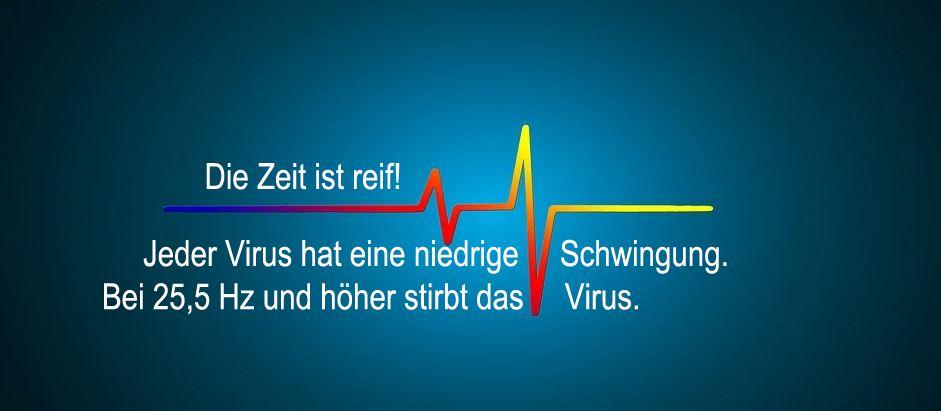 Jeder Virus hat eine niedrige Schwingung. Bei 25,5 Hz und höher stirbt das Virus.