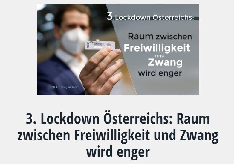 3. Lockdown Österreichs: Raum zwischen Freiwilligkeit und Zwang wird enger